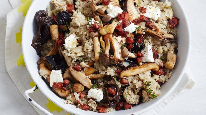 Cauliflower risotto with mushrooms