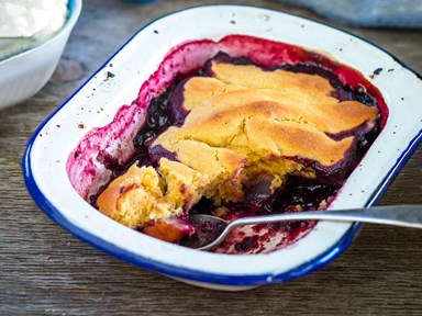 Gluten-free boysenberry and pear pudding