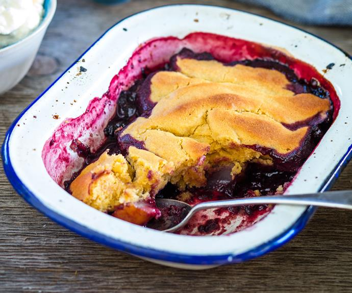 Boysenberry and pear pudding