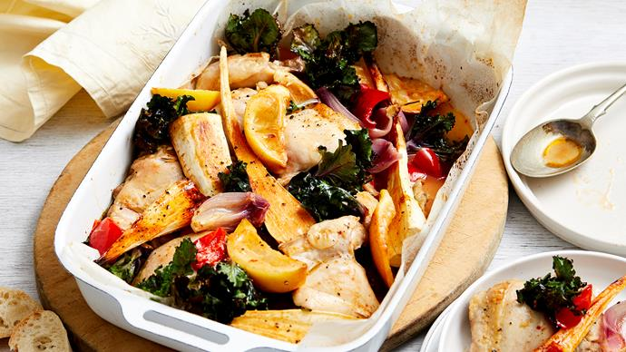 chicken and parsnip kale tray bake recipe