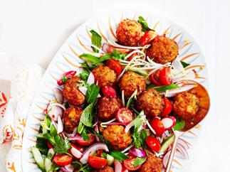 Warm fishcake salad