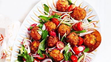 Warm prawn cake salad with sweet chilli dressing