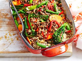 Chilli mince with beans and rice