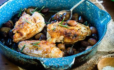 One-pan baked chicken with roasted grapes and rosemary