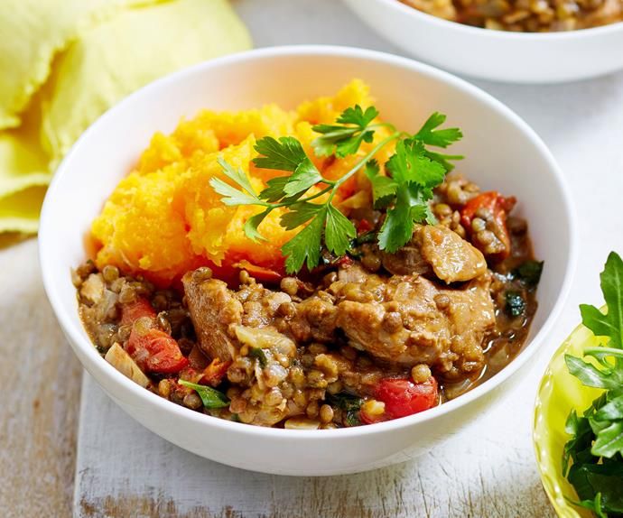 Chicken and lentil casserole