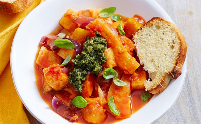 Winter veg casserole with chunky pesto