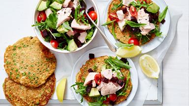 Pizza pancakes with lemony salmon topping