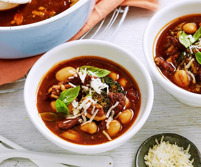 chunky beef, bean and broccoli soup