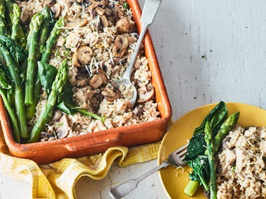 Oven-baked mushroom and chicken brown rice risotto