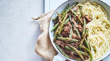 Sesame peanut beef and bean stir-fry with noodles