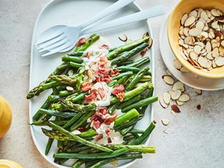 Green beans and asparagus with tahini lemon drizzle
