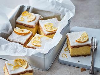 Lemon and gin custard squares