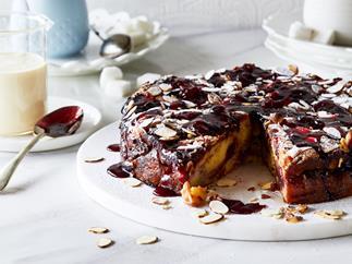 Black Doris plum and almond croissant pudding cake