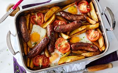 Spicy one-pan sausage, egg and chip bake