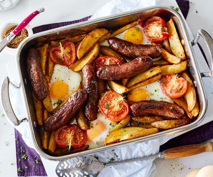 Spicy one-pan sausage, egg and chips