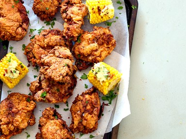 Crispy Southern fried chicken with chilli butter corn
