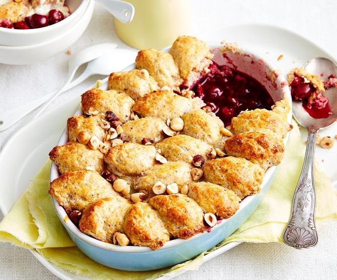 Cherry and raspberry cobbler