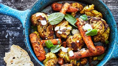 Crispy oven-roasted spiced cauliflower and carrot