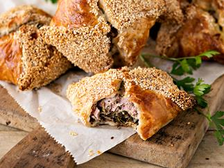 Sausage pork and spinach pies