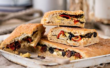 Stuffed focaccia bread with spinach, olives and feta