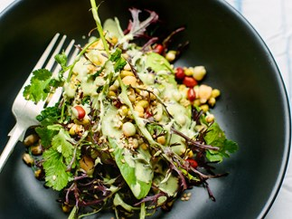 Avocado and sprout salad with green tahini dressing