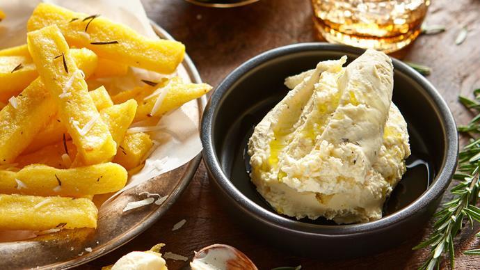 Rosemary, feta and garlic dip with polenta chips