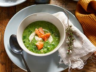 Green pea soup with wood-smoked salmon