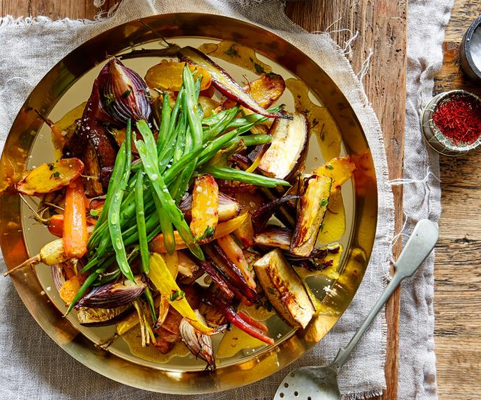 Roast vegetables with warm lemony saffron butter
