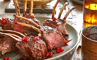 Lamb rack with pomegranate glaze and minted parsnip mash