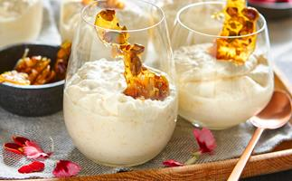 Pear and coconut yoghurt mousse with nut toffee