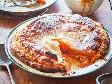 Apricot pie with ginger wine syrup