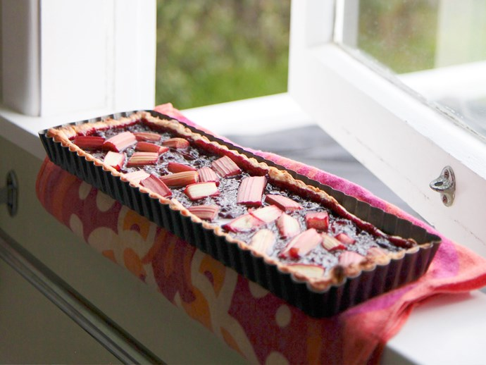 Berry and rhubarb pie
