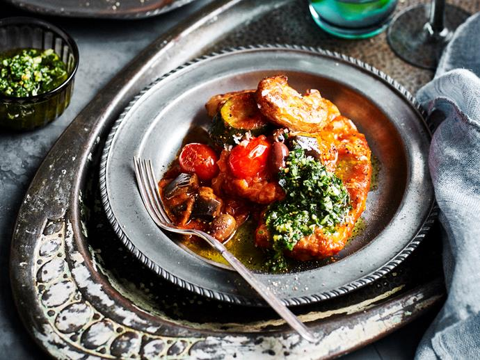 """**[Slow-cooker lamb chops with ratatouille](https://www.womensweeklyfood.com.au/recipes/lamb-chops-with-ratatouille-2433