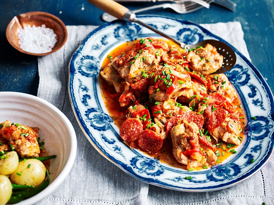 "This bright and spicy [Italian-style chicken dish](https://www.womensweeklyfood.com.au/recipes/slow-cooker-italian-style-chicken-with-tomatoes-and-pepperoni-2434|target=""_blank"") is fantastic served with steamed vegetables and crusty bread."