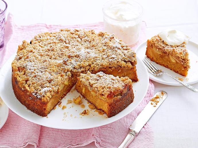 """**[Caramel apple crumble cake](https://www.womensweeklyfood.com.au/recipes/caramel-apple-crumble-cake-2440