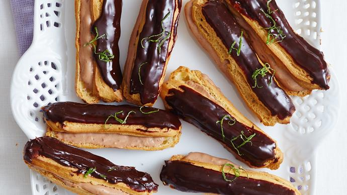 Lime and chocolate eclairs