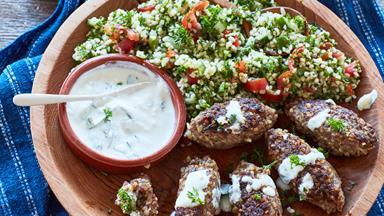 Lamb mince kibbeh and tabbouleh salad