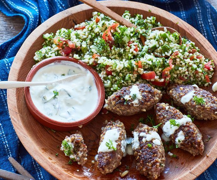 Lamb kibbeh and tabbouleh salad