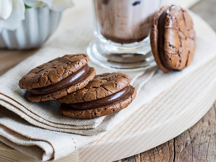 "**[Double chocolate brownie cookies](https://www.womensweeklyfood.com.au/recipes/double-chocolate-brownie-cookies-2458|target=""_blank"")**"