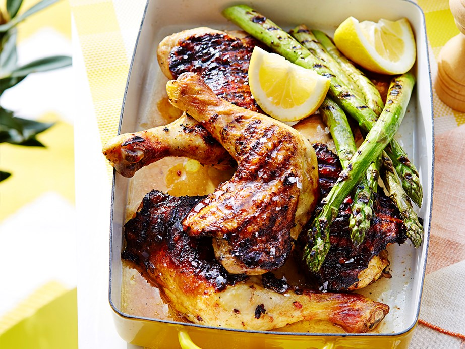 "Not all buttermilk chicken recipes are fried! This [spicy buttermilk chicken recipe](https://www.womensweeklyfood.com.au/recipes/spicy-buttermilk-chicken-2460|target=""_blank"") uses buttermilk to tenderise the meat, and create an irresistable char on the BBQ hotplate."