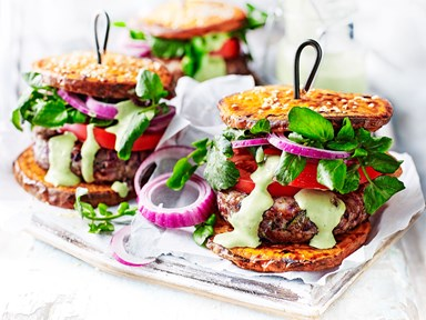 Low-carb turkey burgers with kumara 'buns'