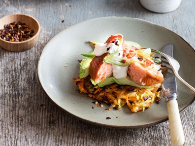 Homemade hash browns with salmon and avocado