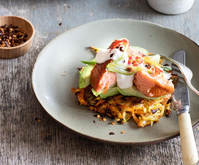 Hash browns with salmon and avocado