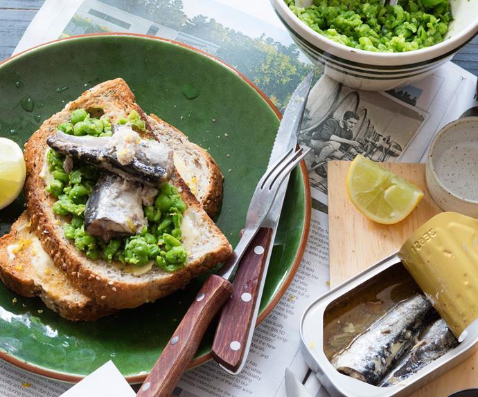 Crushed lemony peas and sardines on toast
