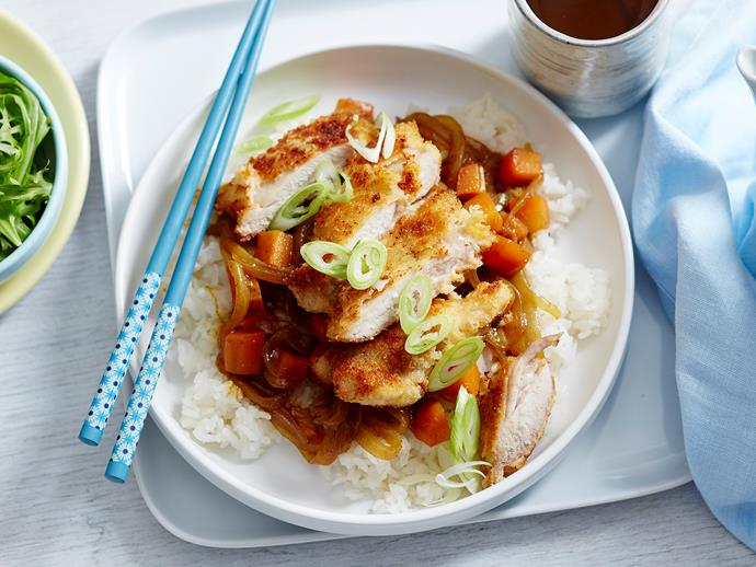 """**[Japanese katsu chicken curry](https://www.womensweeklyfood.com.au/recipes/japanese-katsu-chicken-curry-2492