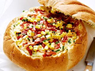 Creamed corn and bacon cob loaf