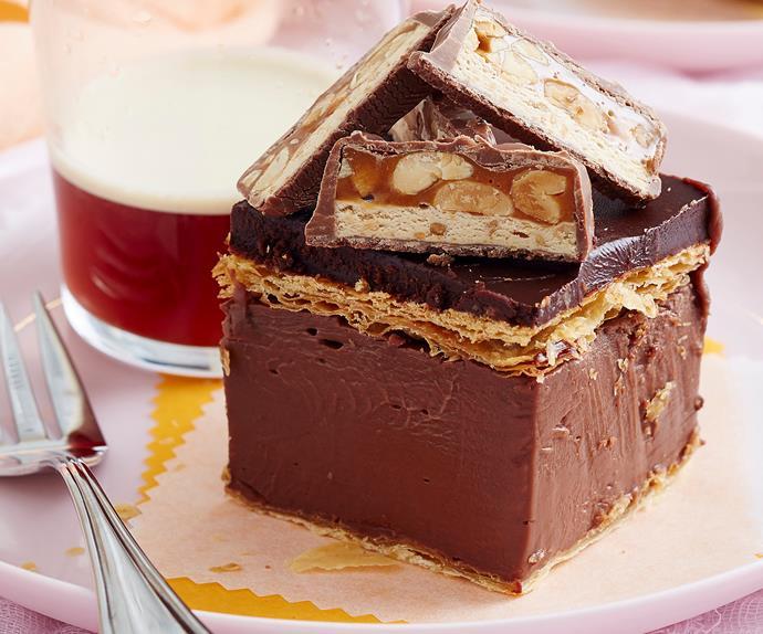 chocolate vanilla custard slice