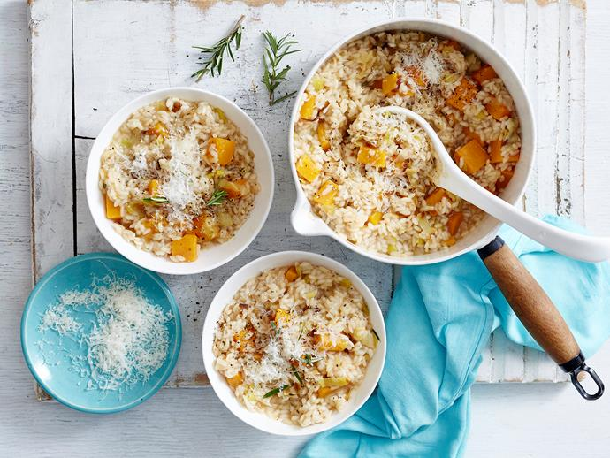 "This light, [vegetarian risotto](https://www.womensweeklyfood.com.au/recipes/leek-and-pumpkin-risotto-2505|target=""_blank"") is packed with pumpkin, leek and fragrant rosemary, making a flavour-packed and easy family dinner idea when you want to skip the steak."