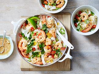 Thai prawn and noodle salad with cashew dressing