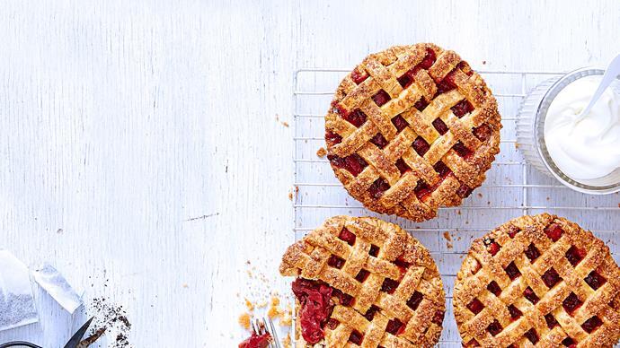 Rhubarb and rose tea pies